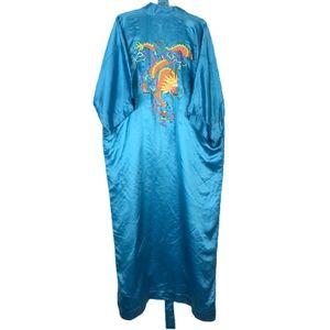 Vintage 100% Silk Robe Embroidered Dragons Kimono